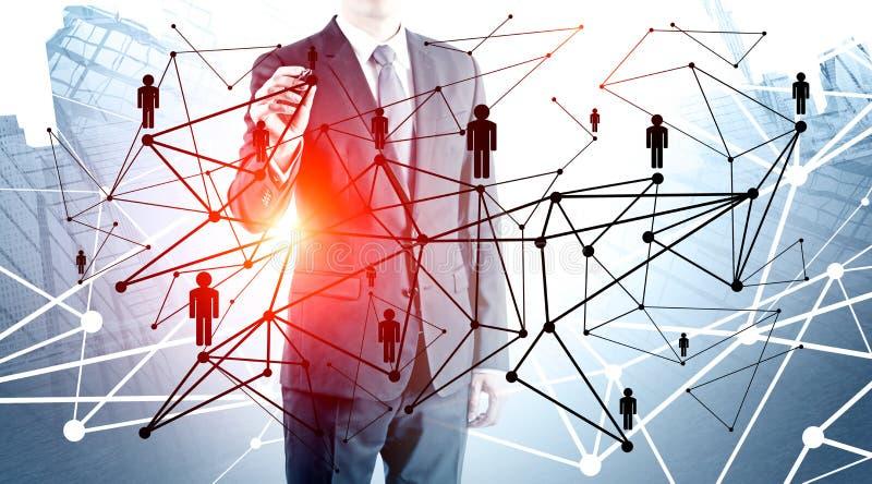Biznesmen pracuje z ludźmi sieć interfejsu obraz stock