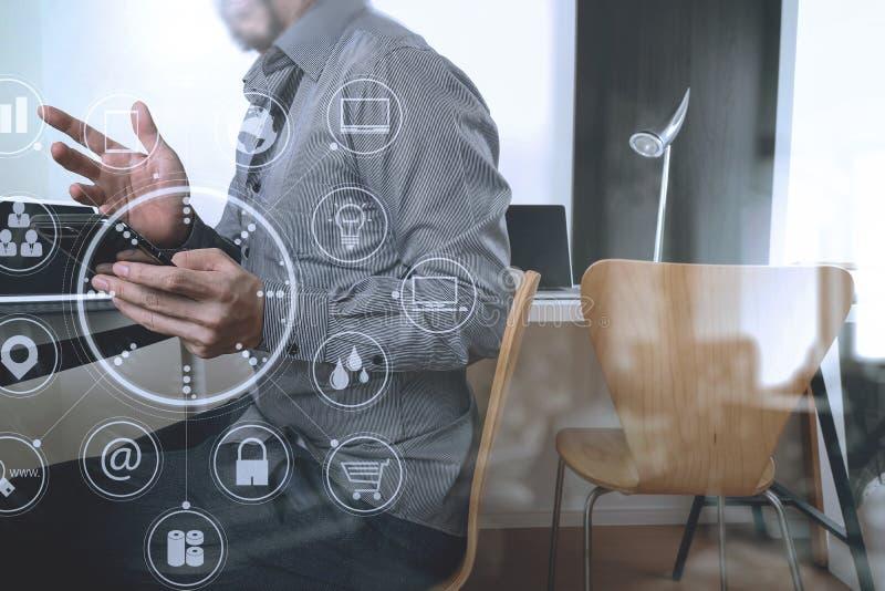 biznesmen pracuje z mądrze telefonem, cyfrową pastylka i lapt ilustracja wektor
