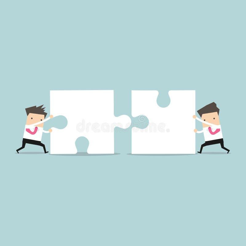 Biznesmen pracy zespołowej dosunięcia wyrzynarka wpólnie ilustracji