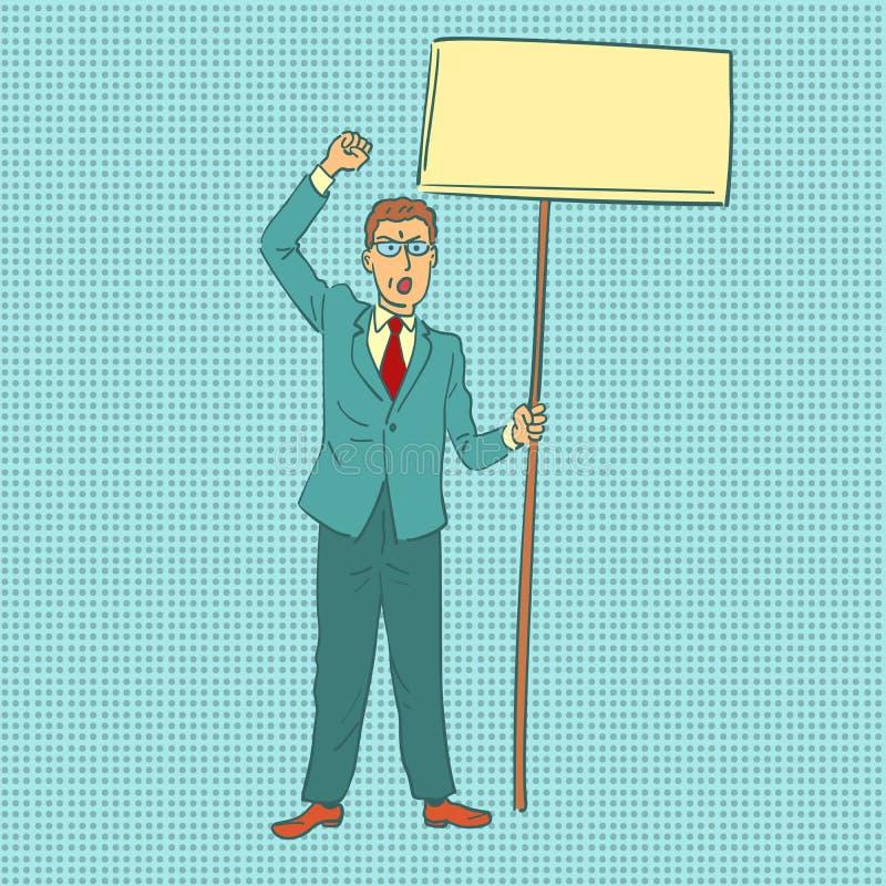 Biznesmen protestuje z sztandarem ilustracja wektor