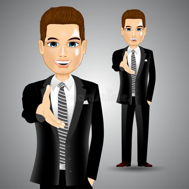 Biznesmen przedłużyć prawa ręka dla uścisku dłoni ilustracji
