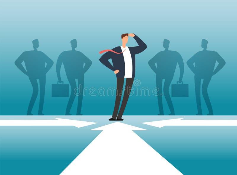Biznesmen przed ludźmi grupa cienia Pracownika zarządzanie, praca zespołowa i przywódctwo wektoru pojęcie, royalty ilustracja