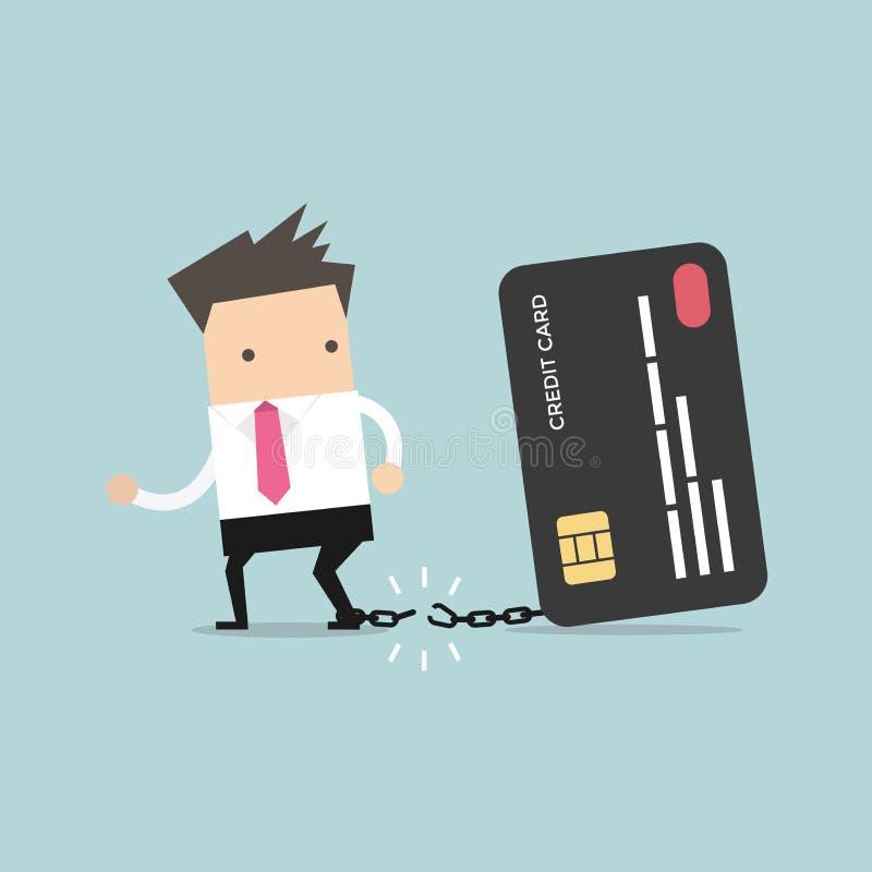 Biznesmen przerwy uwalniają od łańcuchu bank kredytowa karta ilustracja wektor