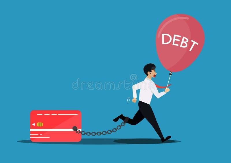 Biznesmen przerwy uwalniają od łańcuchu bank kredytowa karta Kreatywnie ilustracja dla długu i balonu ilustracji