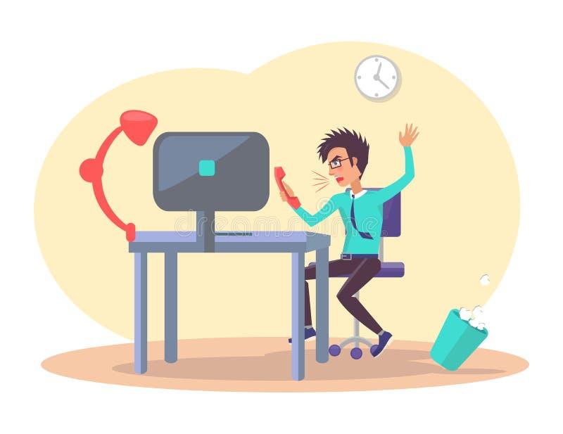 Biznesmen przy Biurową Pracującą Wektorową ilustracją ilustracji