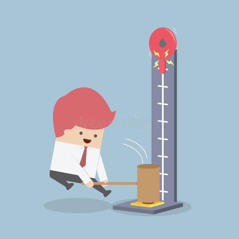 Biznesmen przy karnawałowym ciupnięciem siła tester z hamme ilustracja wektor