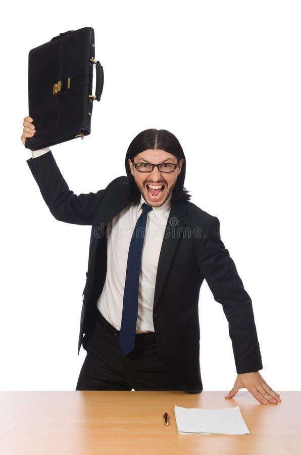 Biznesmen przy miejscem pracy odizolowywającym na bielu obrazy stock