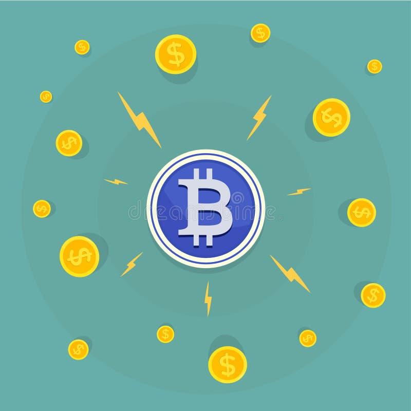 Biznesmen przyciąga Bitcoins z magnesem Płaski projekta sztandaru pojęcie royalty ilustracja