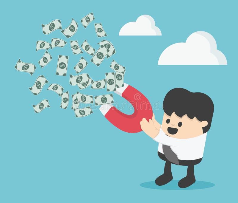 Biznesmen przyciąga pieniądze z magnesem royalty ilustracja