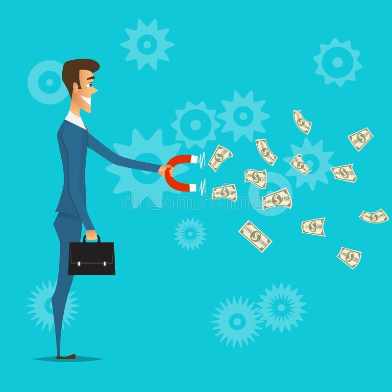 Biznesmen przyciąga pieniądze z magnesem ilustracja wektor
