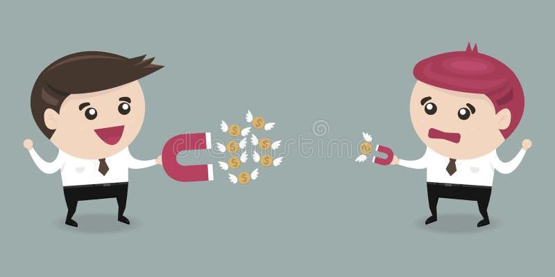 Biznesmen przyciąga pieniądze z wielkim magnesem i małym magnesem, ilustracji