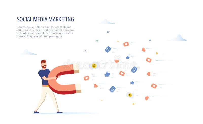 Biznesmen przyciąga podobieństwa podpisuje z ogromnym magnesem pojęcie socjalny marketingowy medialny ilustracyjny nowożytny wekt royalty ilustracja