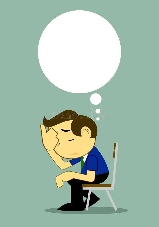 Biznesmen Przygnębiony na ławce Samotnie ilustracja wektor