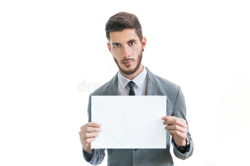 biznesmen puste karty młode gospodarstwa fotografia stock