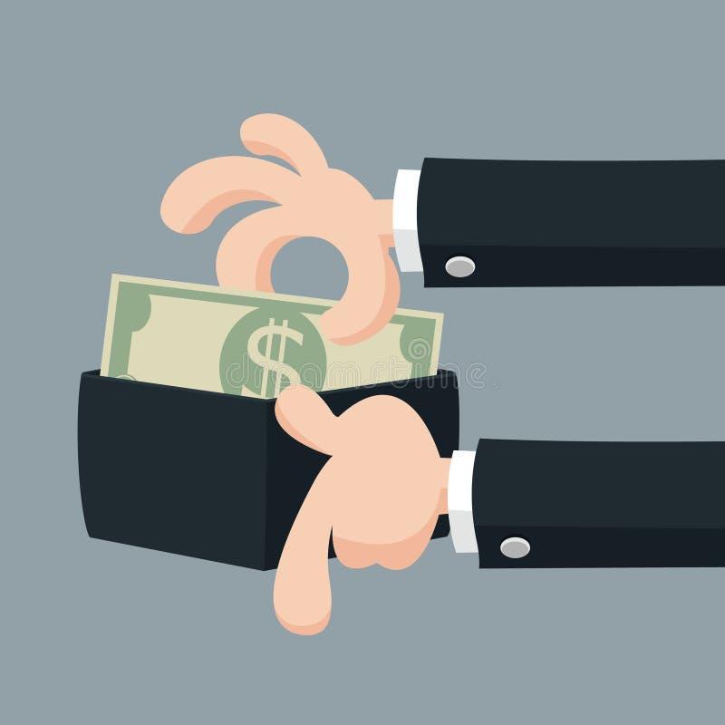 biznesmen ręce s oferuje pieniądze ilustracji