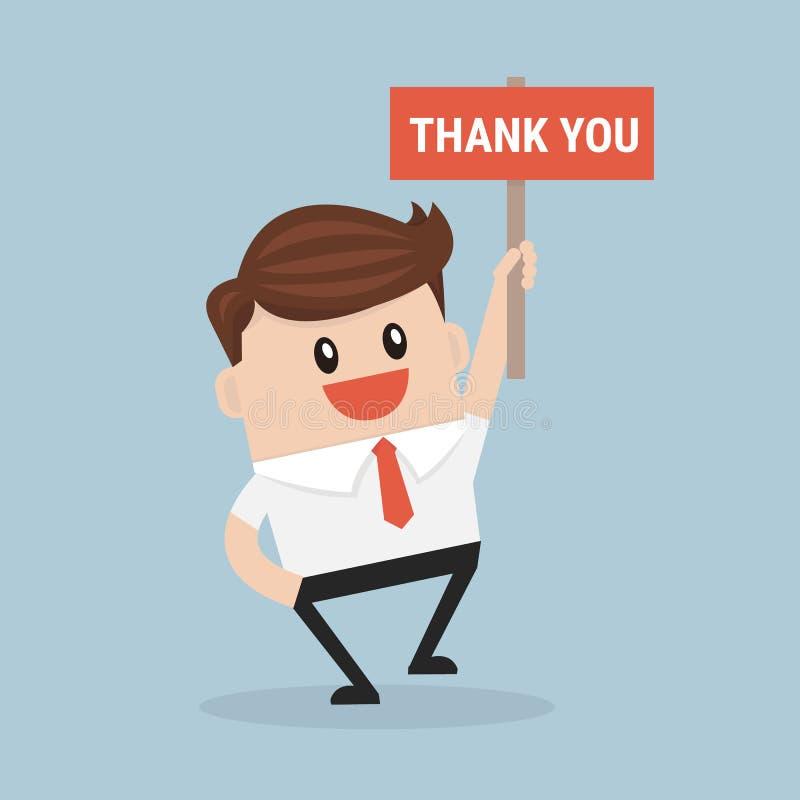 Biznesmen ręk trzymać Dziękuje ciebie szyldowy wektor royalty ilustracja