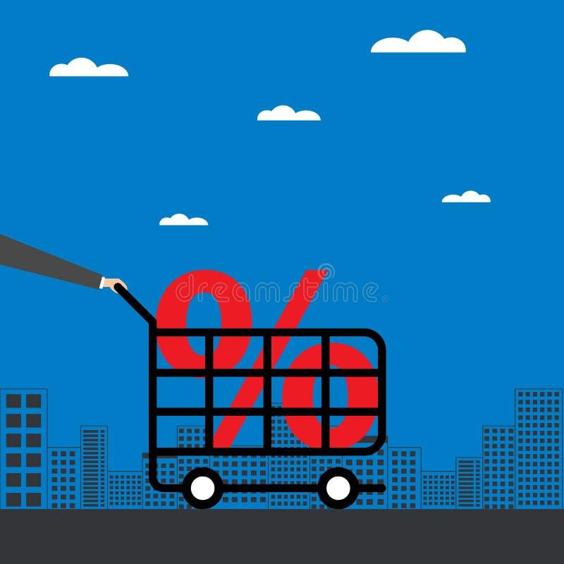 Biznesmen ręka pcha wózek na zakupy royalty ilustracja