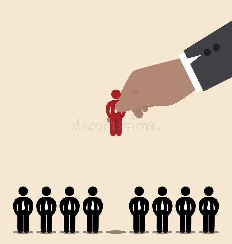 Biznesmen ręka - podnosi czerwonego mężczyzna ikonę wśród czarnego ma royalty ilustracja