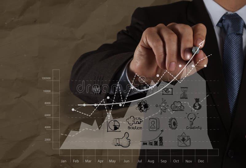 Biznesmen ręka rysuje strategię biznesową z zmiętym przetwarza zdjęcia royalty free