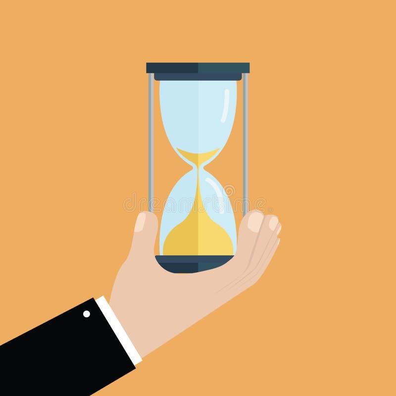 Biznesmen ręka trzyma hourglass Biznesu i czasu zarządzania pojęcie royalty ilustracja