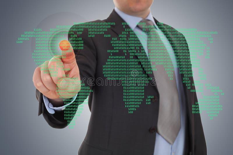 Biznesmen ręka wskazuje z światowej mapy tłem zdjęcie royalty free