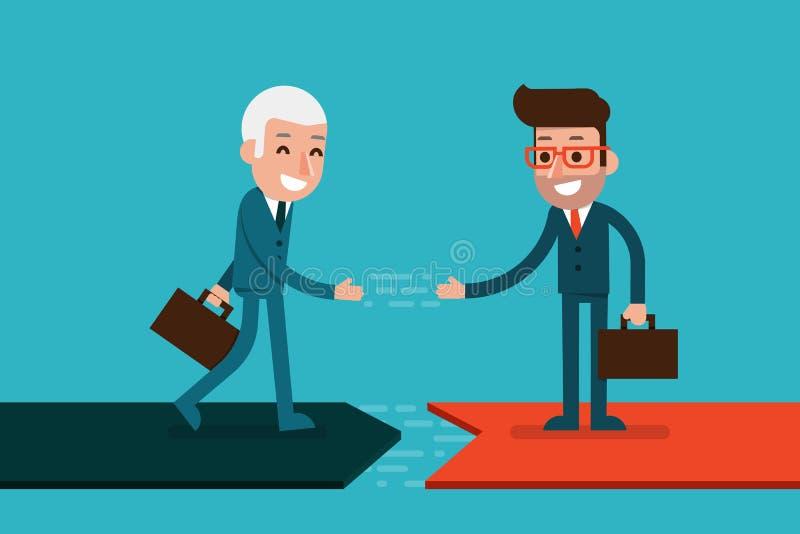 Biznesmen ręki chwianie ilustracja wektor