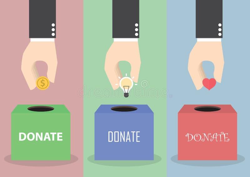Biznesmen ręki kładzenia moneta, żarówka i serce w pudełko, royalty ilustracja