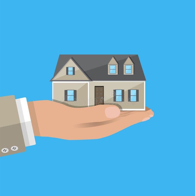 Biznesmen ręki mienia dom mieszkań nieruchomości domów prawdziwego czynszu sprzedaży ilustracja wektor