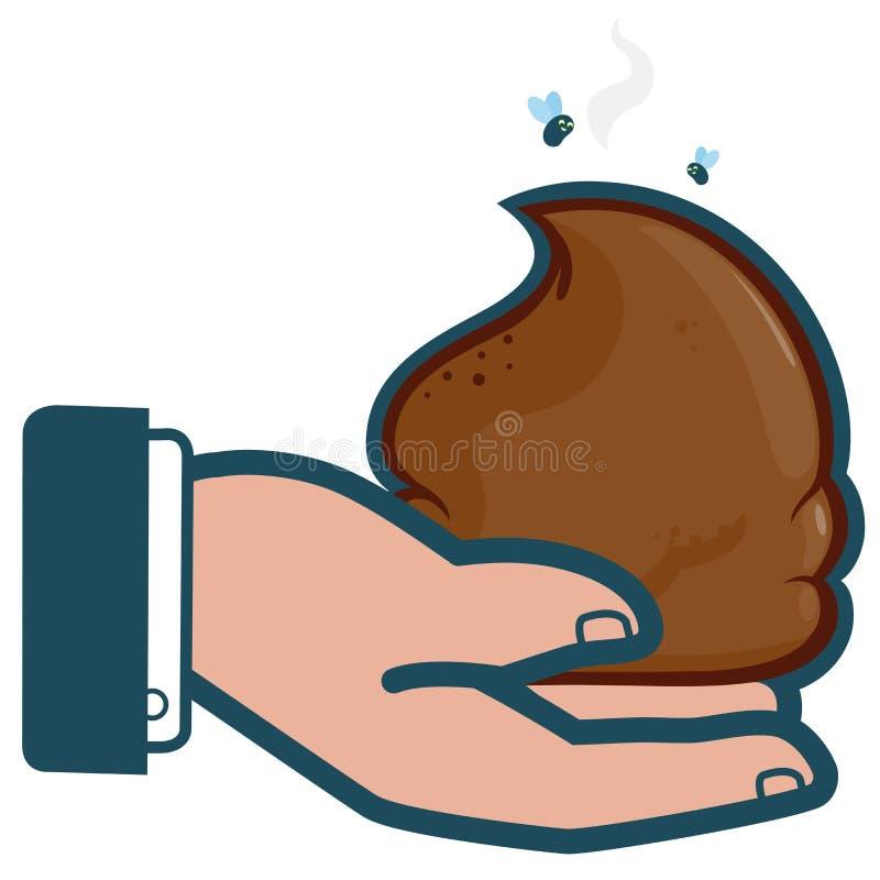 Biznesmen ręki mienia gówno ilustracja wektor