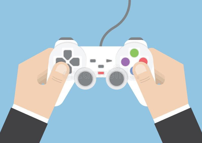 Biznesmen ręki mienia joystick lub gra kontroler ilustracja wektor