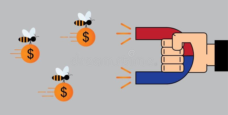 Biznesmen ręki use magnes przyciągać pieniądze - dolar ilustracji