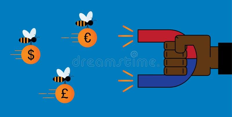 Biznesmen ręki use magnes przyciągać pieniądze - dolar, euro, pou royalty ilustracja