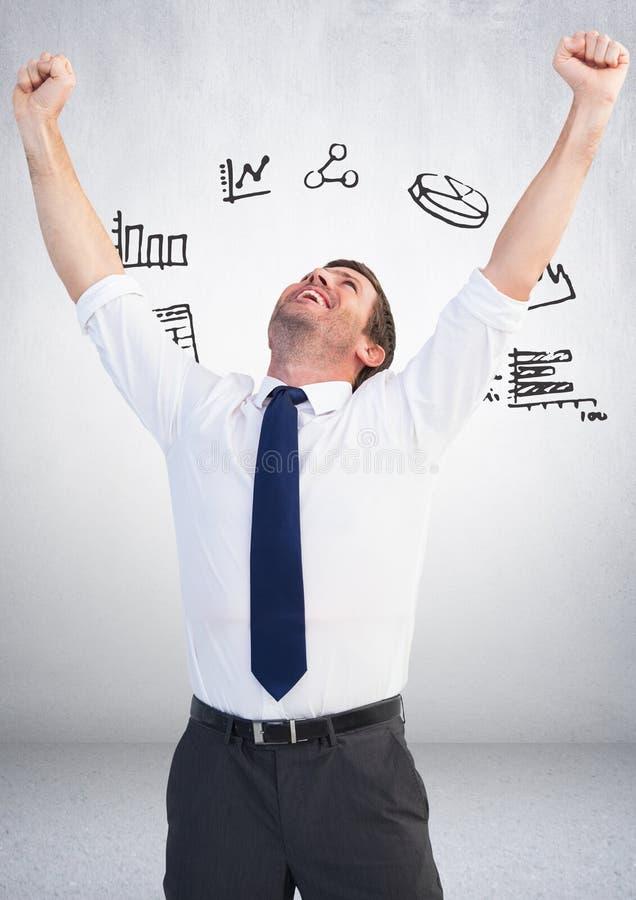 Biznesmen radosna odświętność z map Biznesowych grafika rysunkami ilustracji