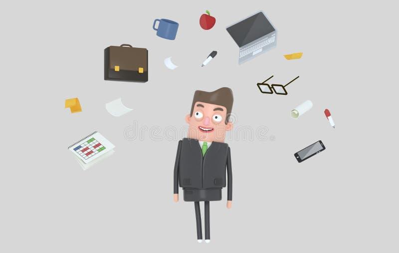 Biznesmen relaksuje patrzejący biurowych akcesoria odosobniony royalty ilustracja