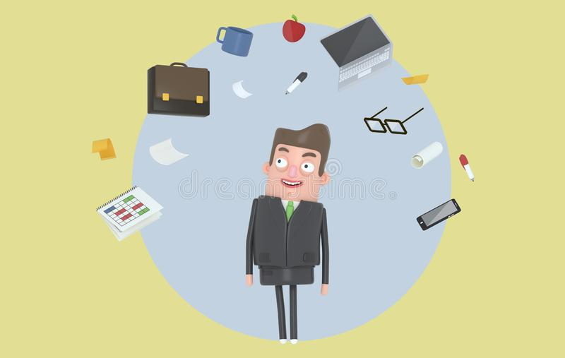 Biznesmen relaksuje patrzejący biurowych akcesoria Tło odosobniony ilustracja wektor