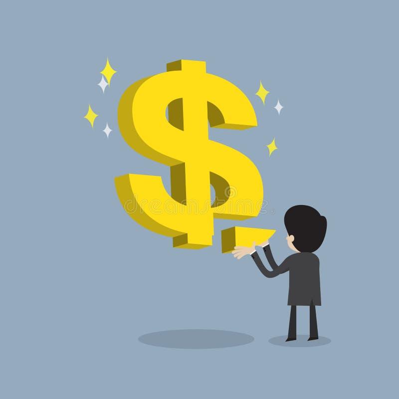 Biznesmen robi silnemu biznesowi lub dostaje wskaźnika rentowności ilustracji
