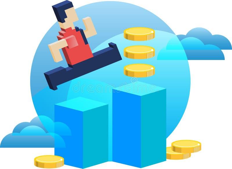 Biznesmen robi zyskowi pieniądze dostawanie ilustracji