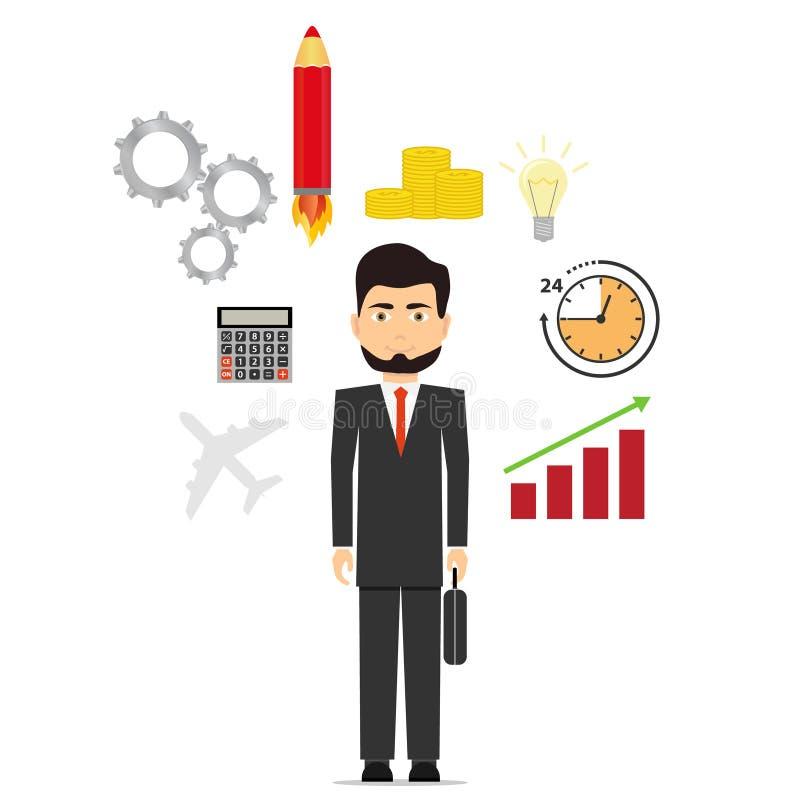 Biznesmen rozpamiętywa pomysł pomysł dla biznesu początkowy pojęcie ilustracja wektor