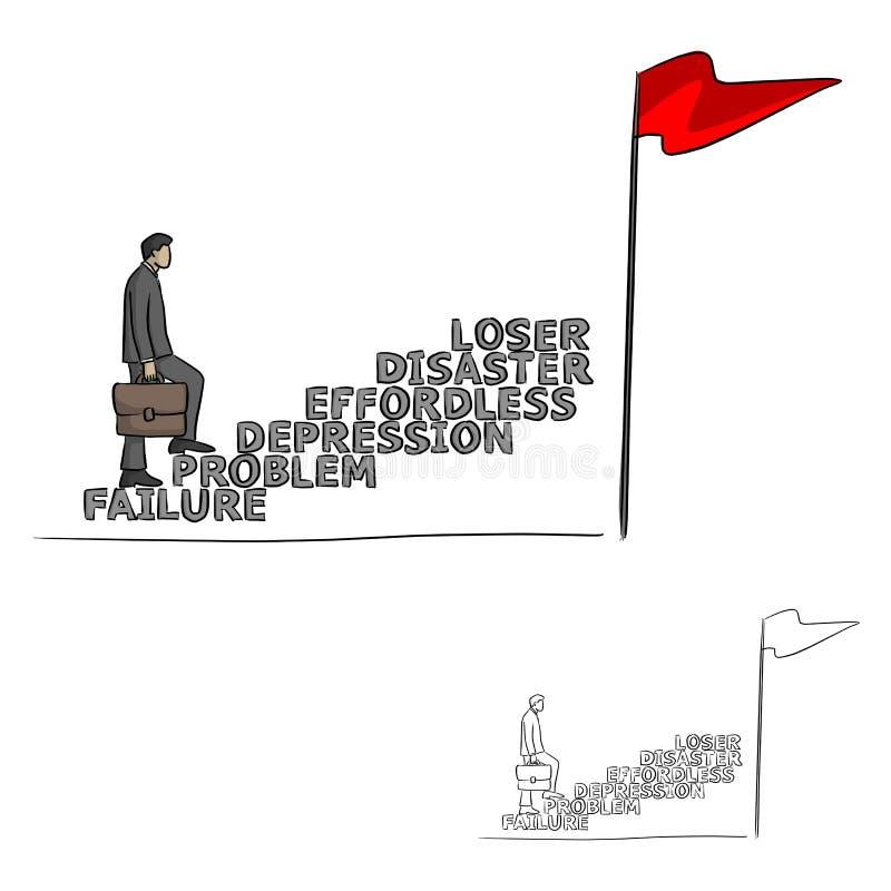 Biznesmen rozwija jego fail do sukces, metafory odprowadzenie na s royalty ilustracja