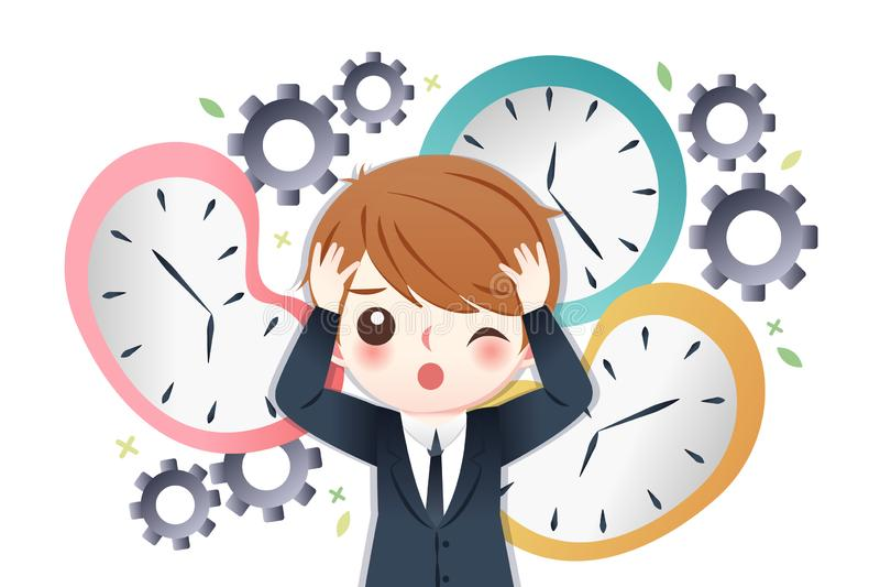 Biznesmen ruchliwie z czasem ilustracji