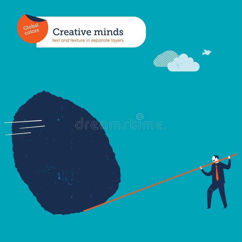 Biznesmen rusza się dużą skałę z dźwignią ilustracja wektor