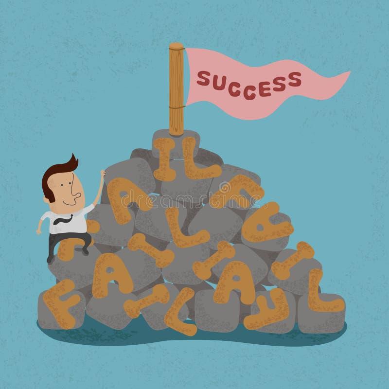 Biznesmen rusza się nad niepowodzeniem iść sukces ilustracja wektor