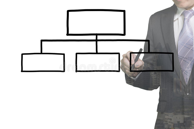 Biznesmen rysuje pustą organizaci mapę royalty ilustracja