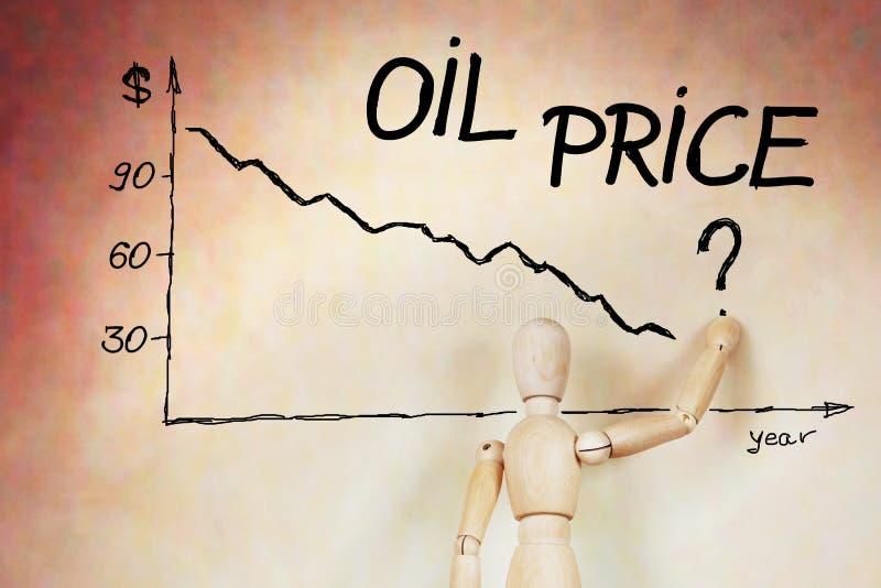Biznesmen rysuje wykres cena ropy spadek zdjęcia royalty free