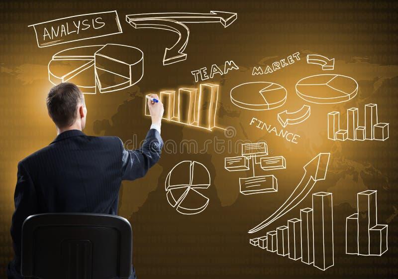 Biznesmen rysunkowa strategia biznesowa obraz royalty free
