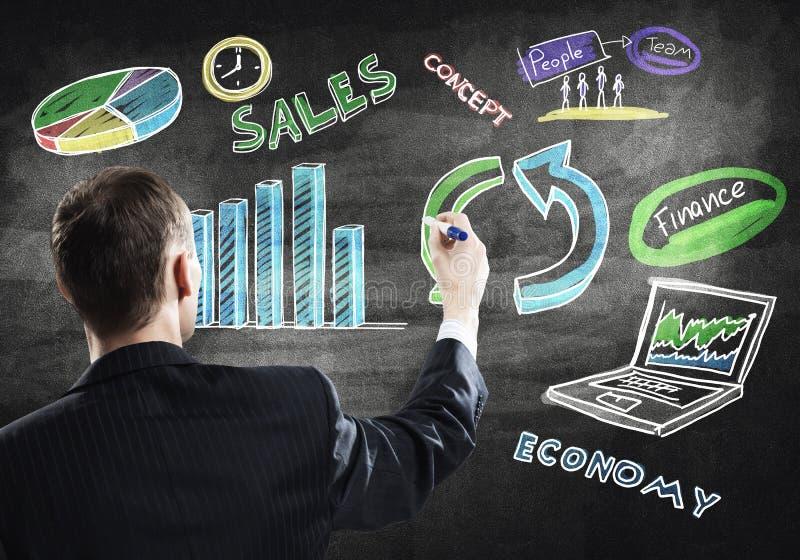 Biznesmen rysunkowa strategia biznesowa zdjęcia stock