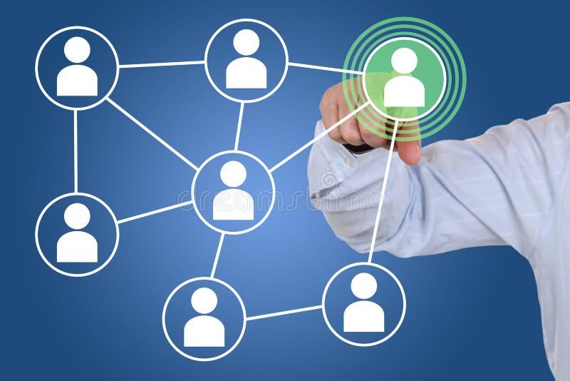 Biznesmen sieci interneta naciskowa ogólnospołeczna medialna ikona zdjęcie royalty free