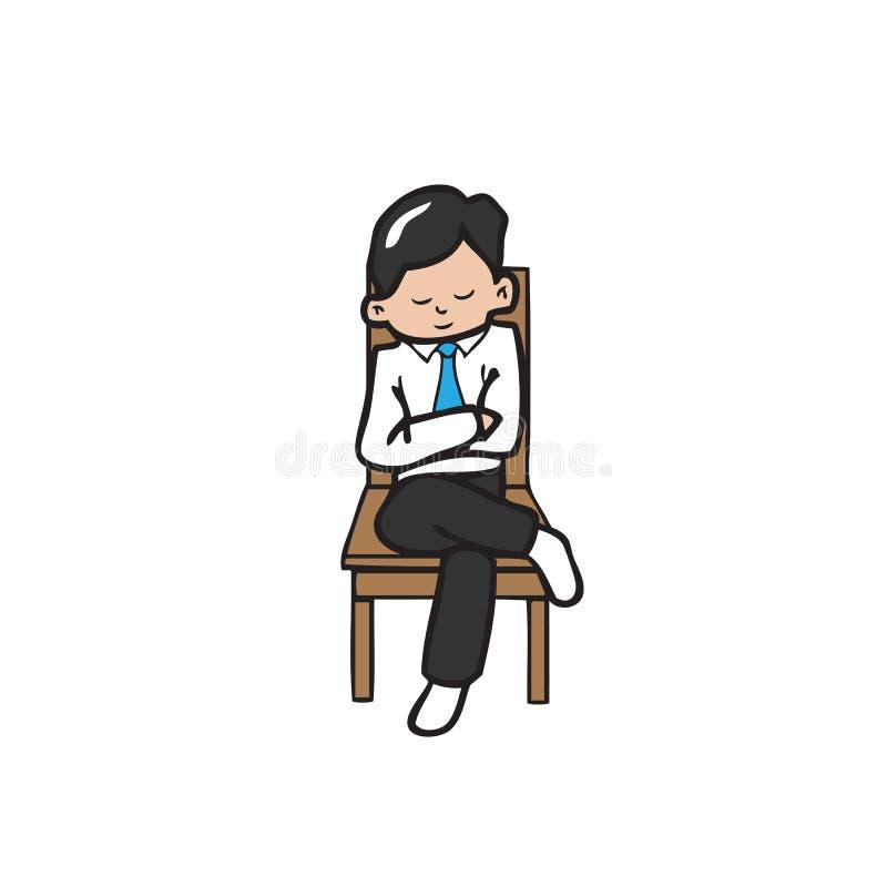 Biznesmen siedzi przecinające ręki ilustracji