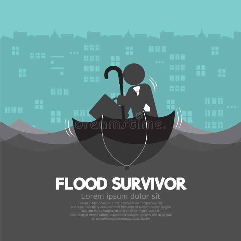 Biznesmen Siedzi W Up strona puszka powodzi Otwartym Parasolowym ocalały ilustracja wektor