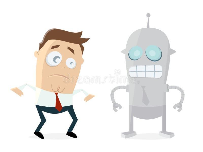 Biznesmen skeptical roboty ilustracja wektor